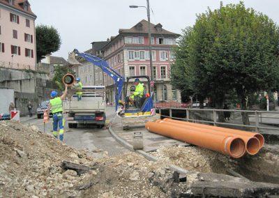 Pose de tuyaux pour canalisations